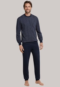 Schiesser Lange Pyjama Dark Sapphire Dark Evening Blue