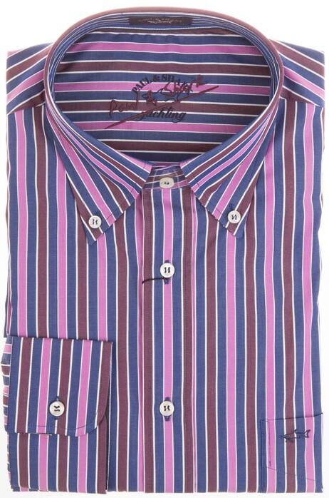 Bordeaux Overhemd.Paul Shark Warm Pink Bordeaux Stripe Overhemd In Kleur Roze