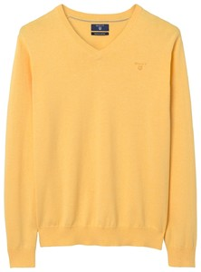 Gant Cotton V-Neck Light Yellow Melange