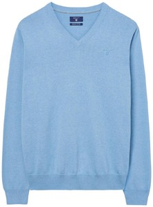 Gant Cotton V-Neck Lake Blue Melange