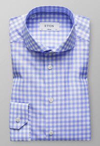 Eton Super Slim Gingham Check Pastel Blauw