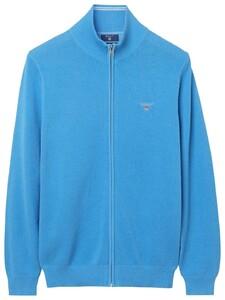 Gant Cotton Pique Zipper Vest Pacific Blue