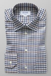 Eton Fine Twill Classic Check Diep Blauw