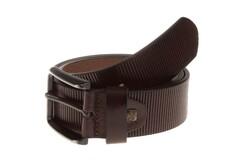 Lindenmann Ribbed Leather Belt Donker Bruin