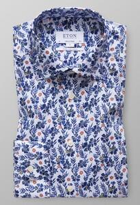 Eton Floral Detail Sleeve 7 Diep Blauw