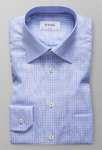 Eton Check Twill Shirt Licht Blauw