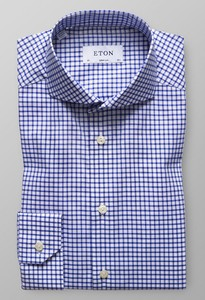 Eton Super Slim Fine Twill Stretch Diep Blauw