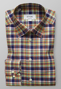 Eton Multi Check Button Under Navy