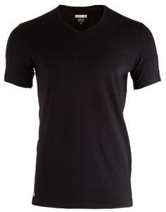 Lacoste Cotton Stretch V-Neck 2-Pack Black