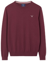 Gant Cotton Wool Pullover Dark Burgundy Melange