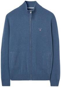 Gant Fine Lambswool Zipper Vest Stone Blue Melange