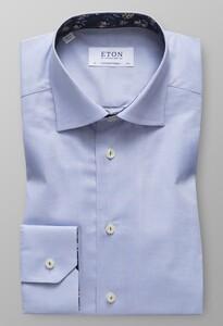 Eton Uni Floral Contrast Pastel Blauw Melange