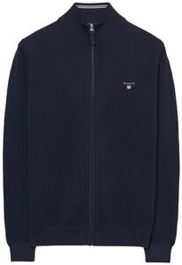 Gant Cotton Piqué Zipper Vest Avond Blauw