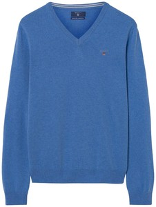 Gant Super Fine Lambswool V-Neck Light Blue Melange
