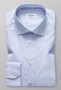Eton Cutaway Check Licht Blauw