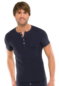 Schiesser Retro Rib Knopen Shirt Blauw