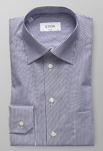 Eton Moderate Cutaway Stripe Donker Blauw