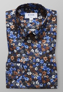 Eton Slim Floral Signature Twill Navy