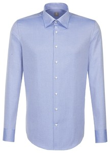 Jacques Britt Slim Hidden Button Down Intens Blauw