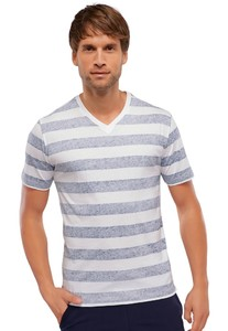 Schiesser Mix & Relax T-Shirt V-Hals Donker Blauw