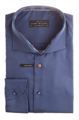 John Miller Navy Plain Check Collar Navy