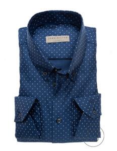 John Miller Luxury Weave Dot Structure Donker Blauw