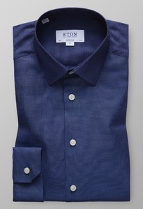 Eton Super Slim Oxford Donker Blauw