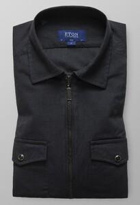 Eton Slim Uni Zipper Shirt Midden Grijs