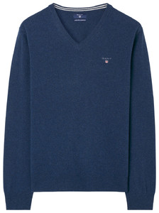 Gant Super Fine Lambswool V-Neck Dark Cobalt Blue Melange