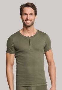 Schiesser Long Life Cool Button Shirt Donker Groen