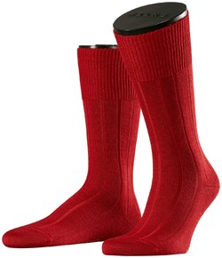 Falke No. 3 Socks Finest Camel and Silk Dark Red Melange