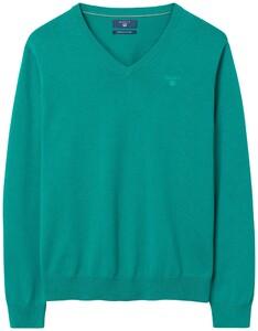 Gant Cotton V-Neck Emerald Green Melange
