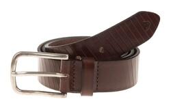 Roy Robson Leather Cut Line Belt Donker Bruin