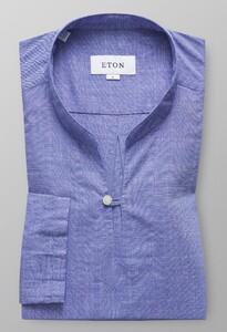 Eton Twill Popover Shirt Avond Blauw