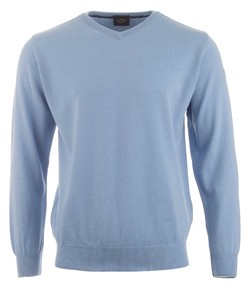 Paul & Shark Cool Touch Wool V-Neck Licht Blauw