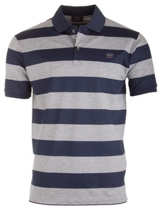 Paul & Shark Organic Cotton Double Mercerized Barstripe Polo Blauw-Grijs