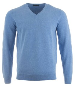 Alan Paine Rothwell Cotton-Cashmere V-Neck Carolina Blue