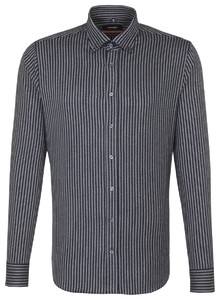 Seidensticker Striped Button Down Donker Blauw Melange