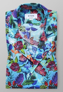 Eton Hawaii Resort Shirt Pastel Blauw
