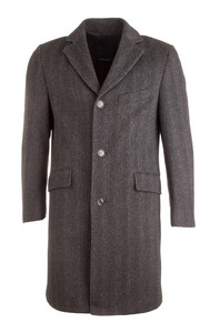 EDUARD DRESSLER Wool Herringbone Coat Anthracite Grey