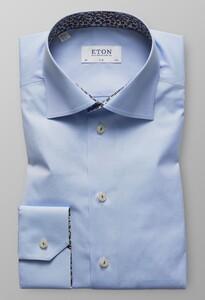Eton Slim Floral Contrast Licht Blauw