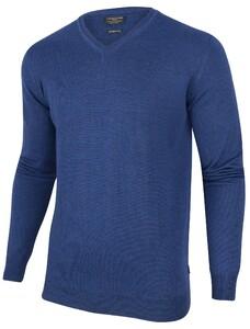 Cavallaro Napoli Merino V-Neck Pullover Midden Blauw