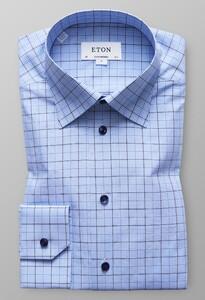 Eton Fine Twill Check Pastel Blauw