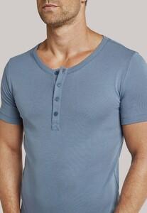 Schiesser Long Life Cool Shirt Knopen Grijs-Blauw