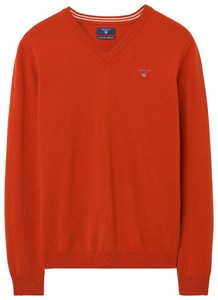 Gant Super Fine Lambswool V-Neck Burnt Ochre