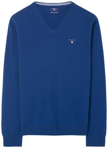 Gant Super Fine Lambswool V-Neck Yale Blue