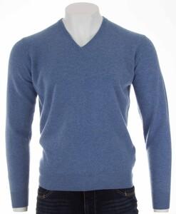 Alan Paine Albury Geelong V-Neck Pullover Jeans Blue Melange