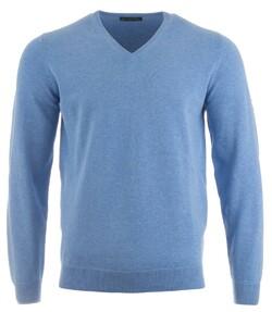 Alan Paine Rothwell Cotton-Cashmere V-Neck Pullover Carolina Blue