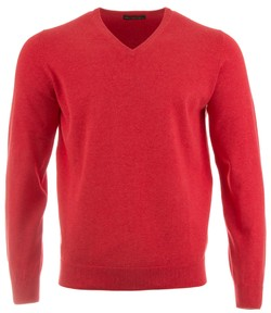 Alan Paine Rothwell Cotton-Cashmere V-Neck Pullover Chilli
