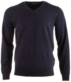 Alan Paine Rothwell Cotton-Cashmere V-Neck Pullover Dark Navy